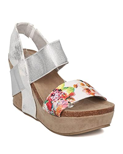 d97f93c34 Nature Breeze Women Mixed Media Floral Platform Wedge Sandal GH67 - Silver ( Size: 6.5