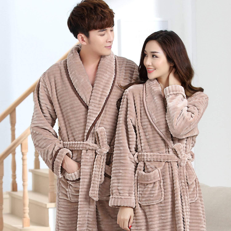 100/% Coral Fleece Couples Bathrobe Thick Flannel Bathrobe Winter Autumn Thickening Terry