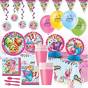 Shopkins Deluxe Girls Birthday Complete Party Pack Decoration Kit for 16