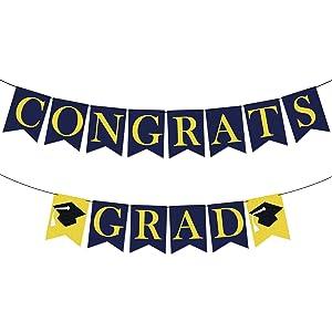 Felt, Congrats Grad Graduation Banner - No DIY, Congratulation Banner | Congrats Grad Banner for Graduation Decorations 2021 Blue and Gold | Graduation Decor Blue and Yellow Decorations for Party
