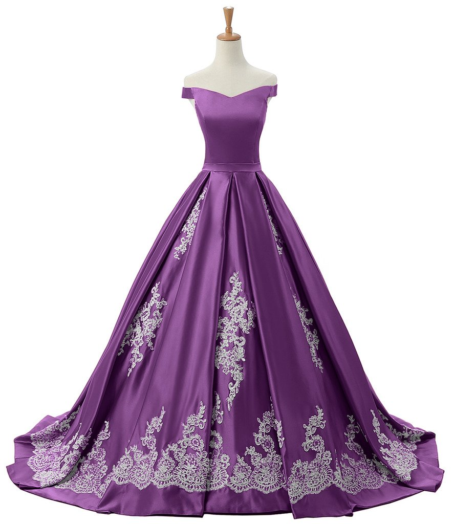 Sunvary Women's Evening Prom Dress Ball Gown Off-the-Shoulder Applique Reception Size 18W- Purple