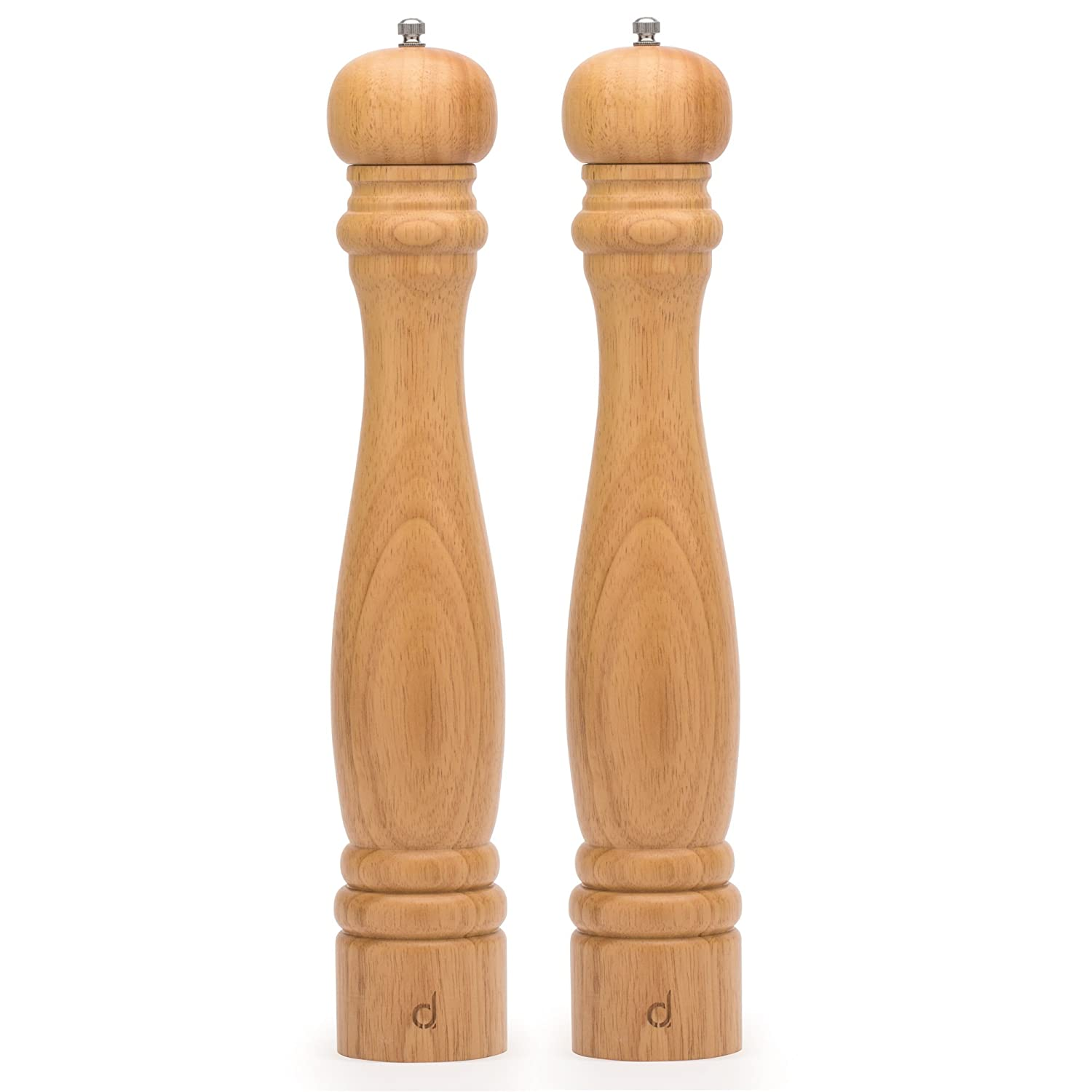 Andrew James Wooden Salt and Pepper Mill Set | Large Grande 41cm Tall Refillable Grinders | Rustic Finish