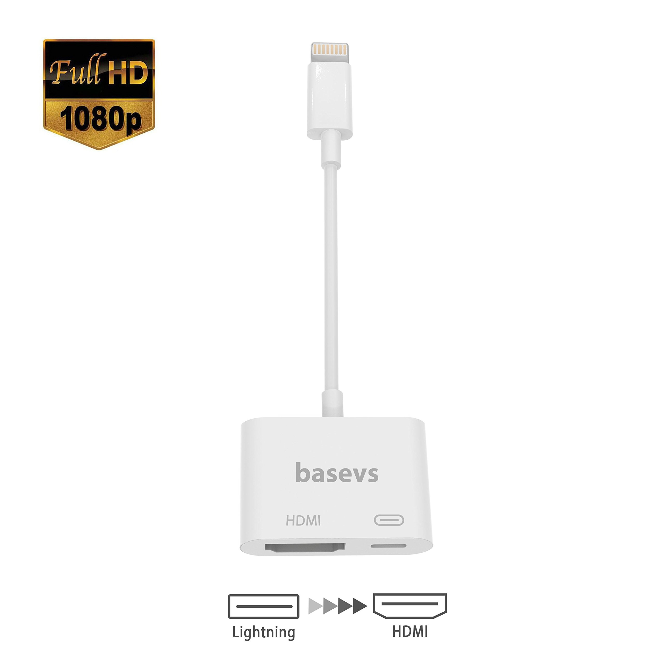Lightning to HDMI, Lightning Digital AV Adapter with Lightning 8Pin Charging for HDTV 1080P Monitor Projector for iPhone, iPad and iPod