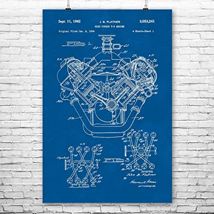 amazon com chrysler 426 hemi v8 engine poster art print hemi rh amazon com 3 Angle Hemi Engine Drawing Engine Block Blueprints