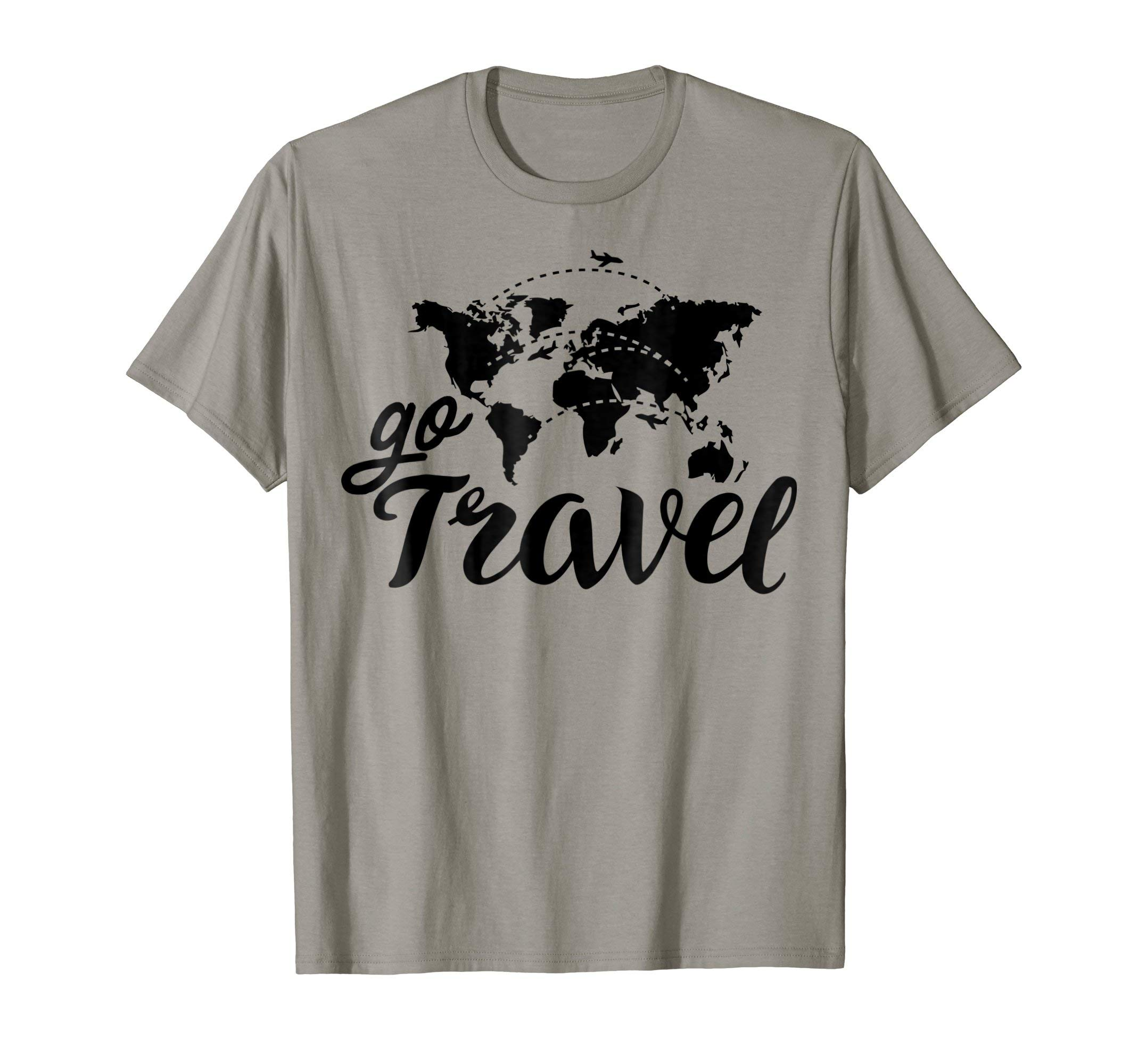 ''Go Travel'' Travel World Map T-shirt (Traveler Club Shirts)