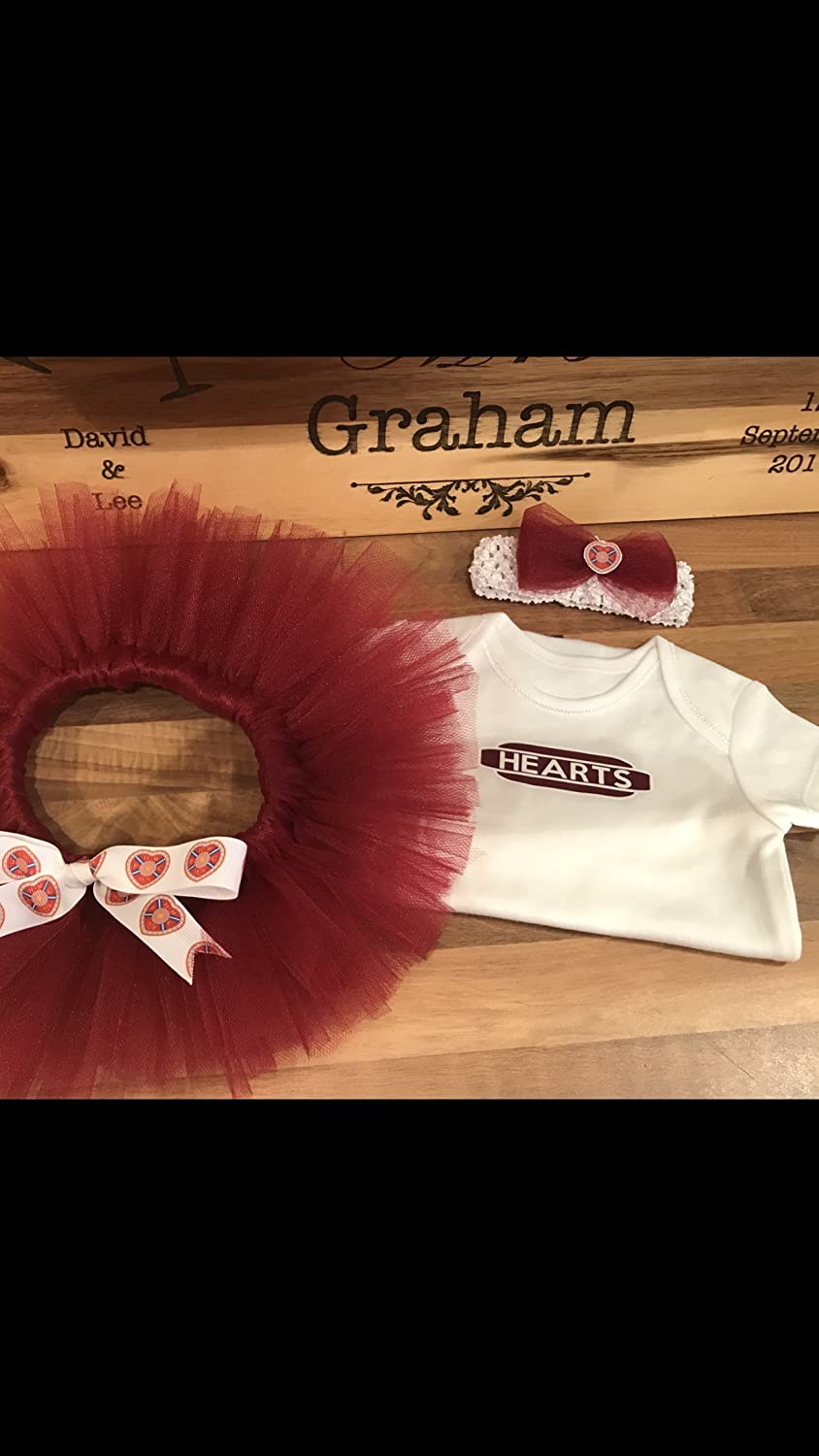 Hearts jambo hmfc Baby girl tutu and matching headband with vest