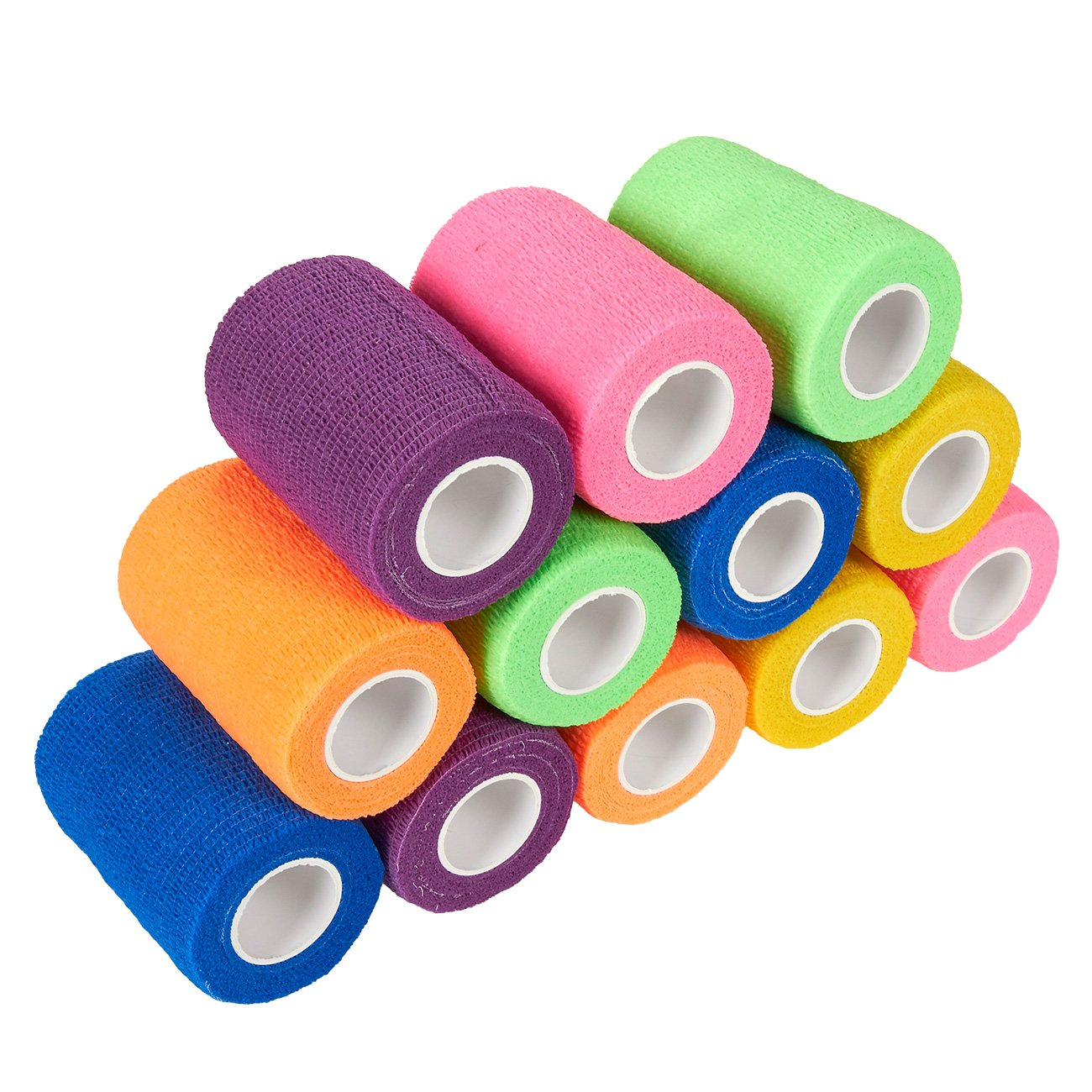 Juvale Pack of 12 Vet Wraps - Gauze Rolls - Cohesive Bandage - Bandage Wrap for Animals, Assorted Colors, 3 Inches x 66.9 Inches by Juvale