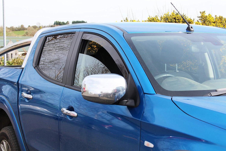 4 Puertas 2x Deflectores de Aire Compatible con Mitsubishi L200 Fiat Fullback 2015-presente Doble Cabina Derivabrisas protecci/ón sol lluvia nieve viento Vidrio acr/ílico PMMA de primera calidad