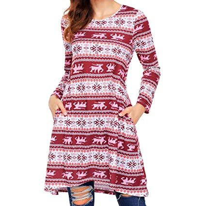 15b41b01c47ae Image Unavailable. Image not available for. Color: VonVonCo Women Xmas  Christmas Dress Long Sleeve Santa Outfit Christmas Cozy Flared ...