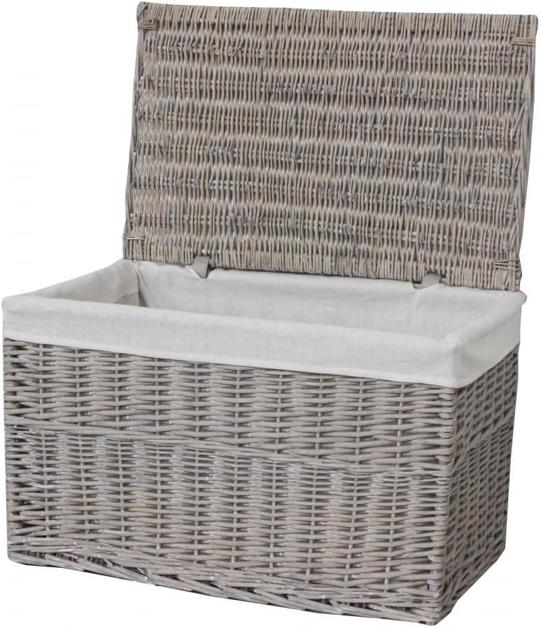Katie Jane HOME Grey Wash Wicker Storage Trunk Chest Basket Large