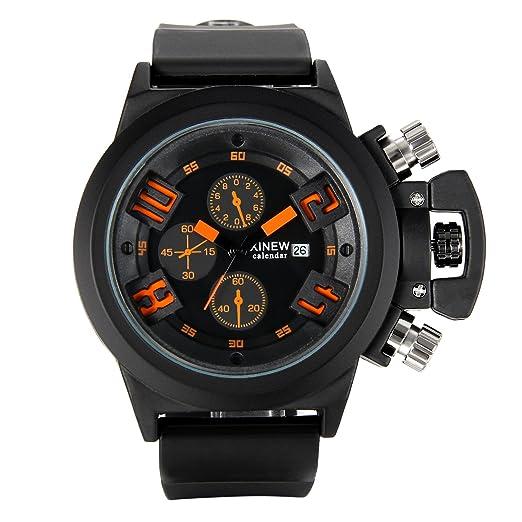 JewelryWe Reloj Grande Para Hombre Chico, Reloj Digital Deportivo Negro Naranja, Multifunciones con Calendario 3 Subdiales Decorativos, Reloj Para Aire ...