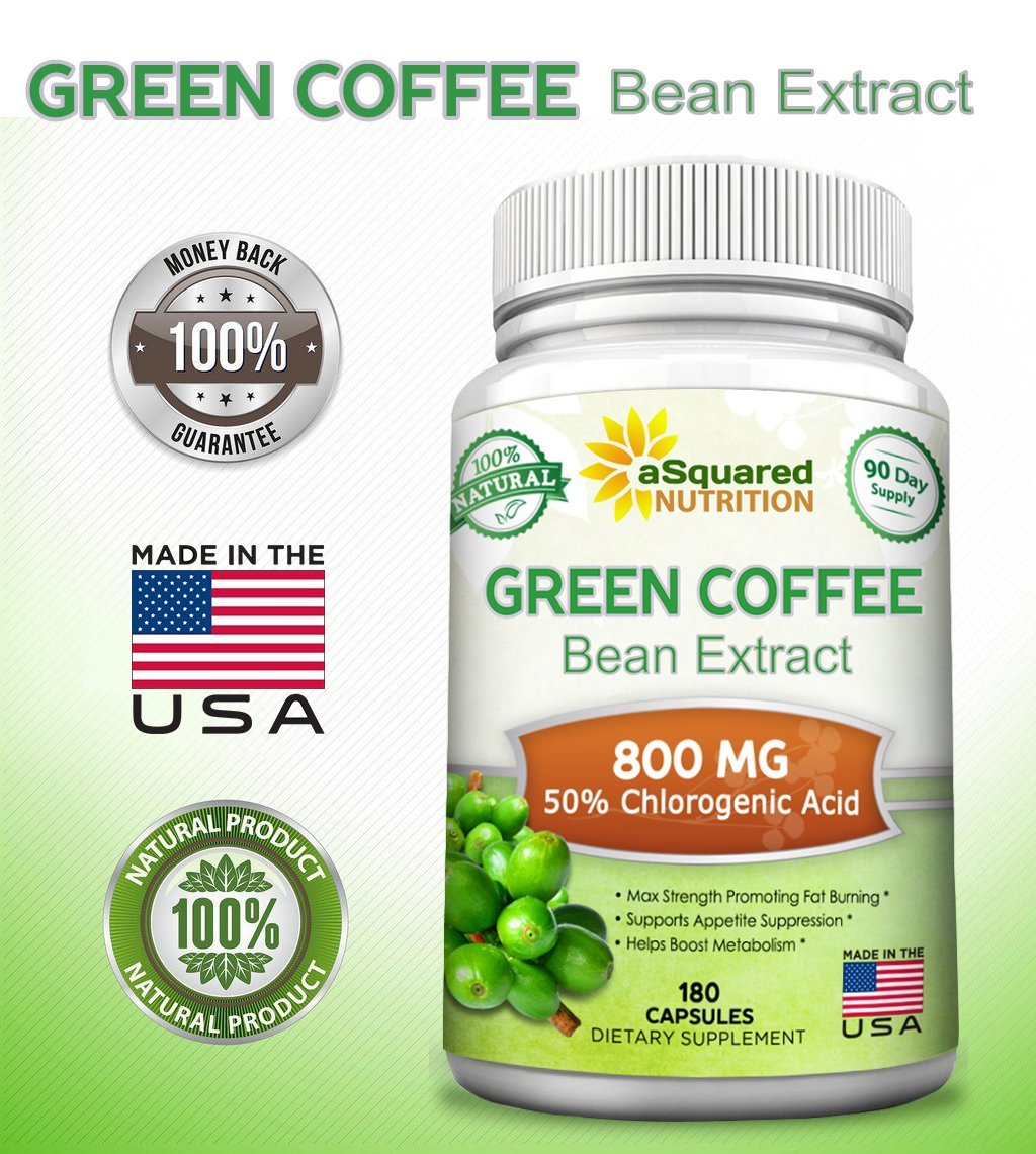 100% Pure Green Coffee Bean Extract - 180 Capsules - Max Strength Natural GCA Antioxidant Cleanse for Weight Loss, 800mg w/ 50% Chlorogenic Acid per Pill, 1600mg Daily Supplement, Healthy Fat Burner by aSquared Nutrition (Image #6)