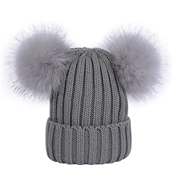 9e9cb85b98d320 Womens Double Pom Pom Beanie Hat Ladies Faux Fur Ball Winter Hats Navy Blue:  Amazon.ca: Luggage & Bags