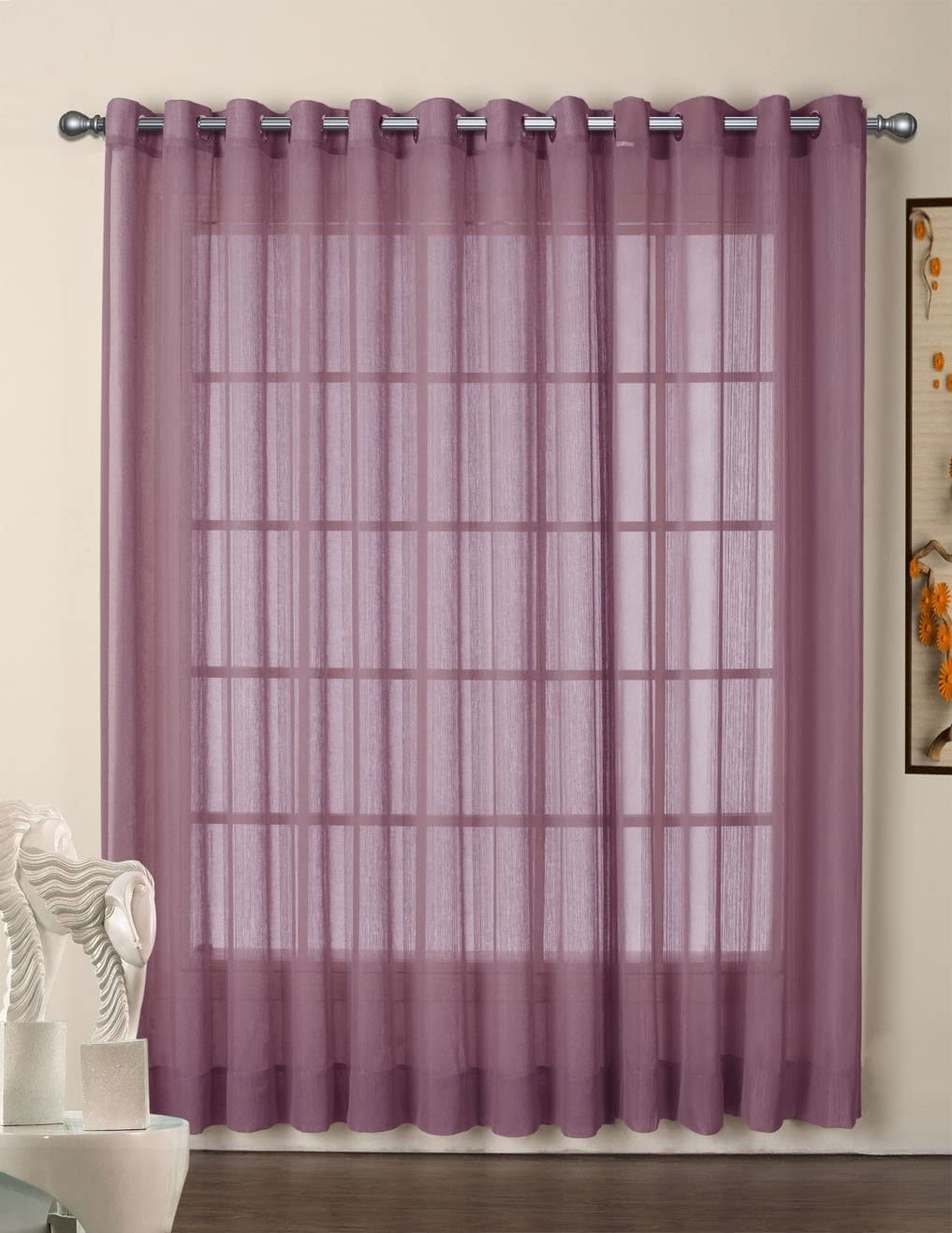 R.LANG Grommet Top Sheer Curtains Voile Window Panel 1 Pair Deep Purple W52 x L108 Set of 2 Panels