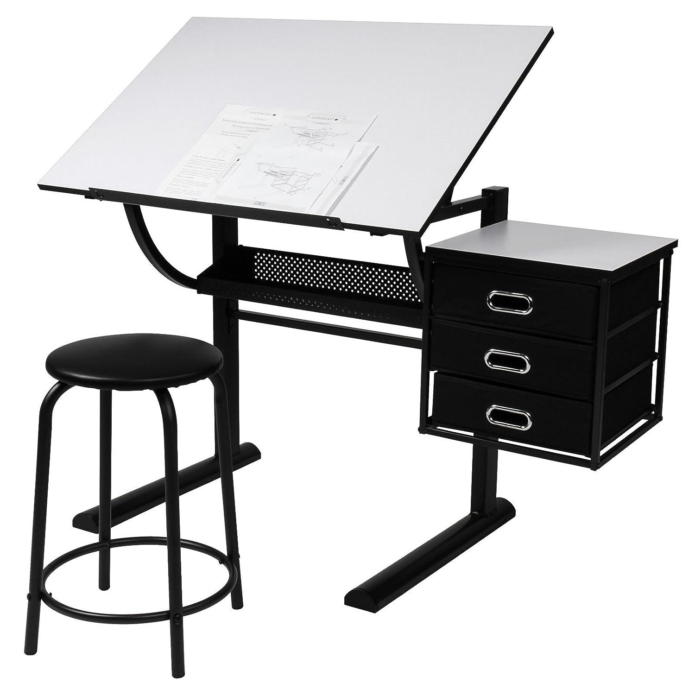 trendy miadomodo bureau table dessin avec tabouret plateau inclinable en continu commode avec. Black Bedroom Furniture Sets. Home Design Ideas