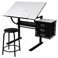 Miadomodo Scrivania per ufficio regolabile e inclinabile con sgabello per architetti e tecnici
