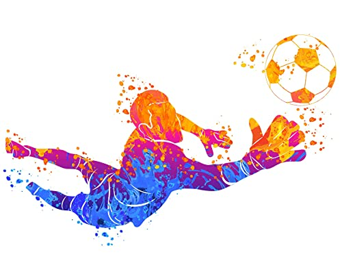 Soccer Wall Art for Men - Watercolor Vibrant Sports Posters - Workout Football room decor - Abstract decor for boys bedroom…