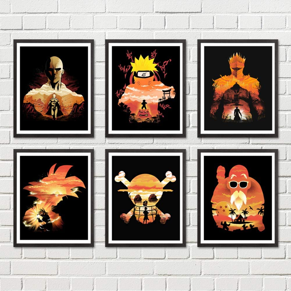 Poster Canvas Prints Japanese Manga Anime Pictures 8 x 10 inches Wall Art Decoration, No Frame, Set of 6