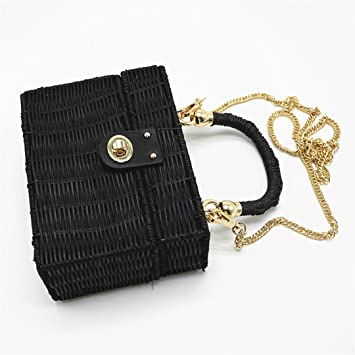 Amazon.com: Bolsa de hombro de paja negra de ratán para ...