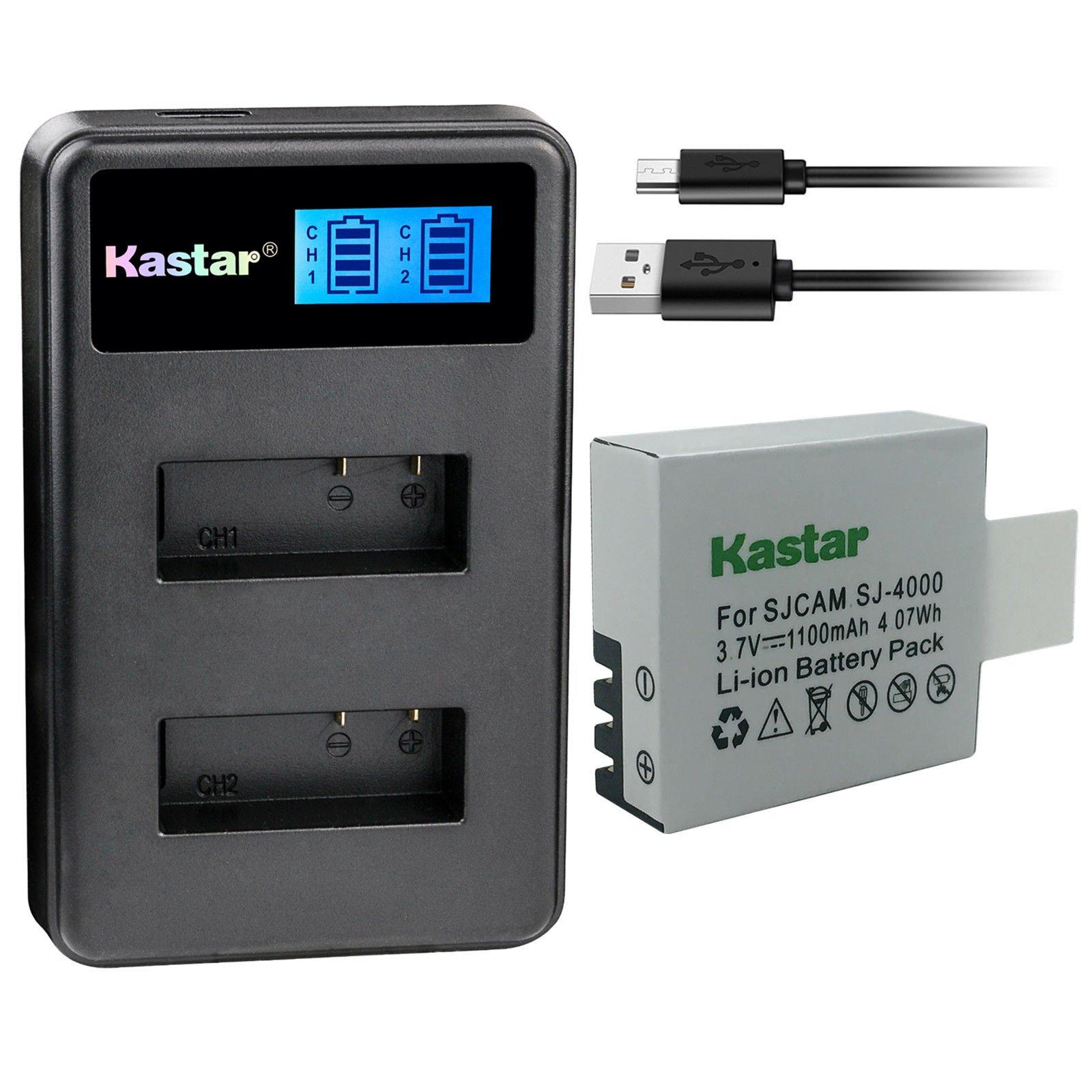 Kastar Battery 1 Pack and LCD Dual Charger for Eken PG1050 & Eken H8 Eken H8 Pro H8R Eken H9 Eken H9R Eko Full HD 1080p Wifi Eko HD 720p Eko Ultra HD 4K Wifi Evolveo MiniDVR DV Evolveo Sportcam A8