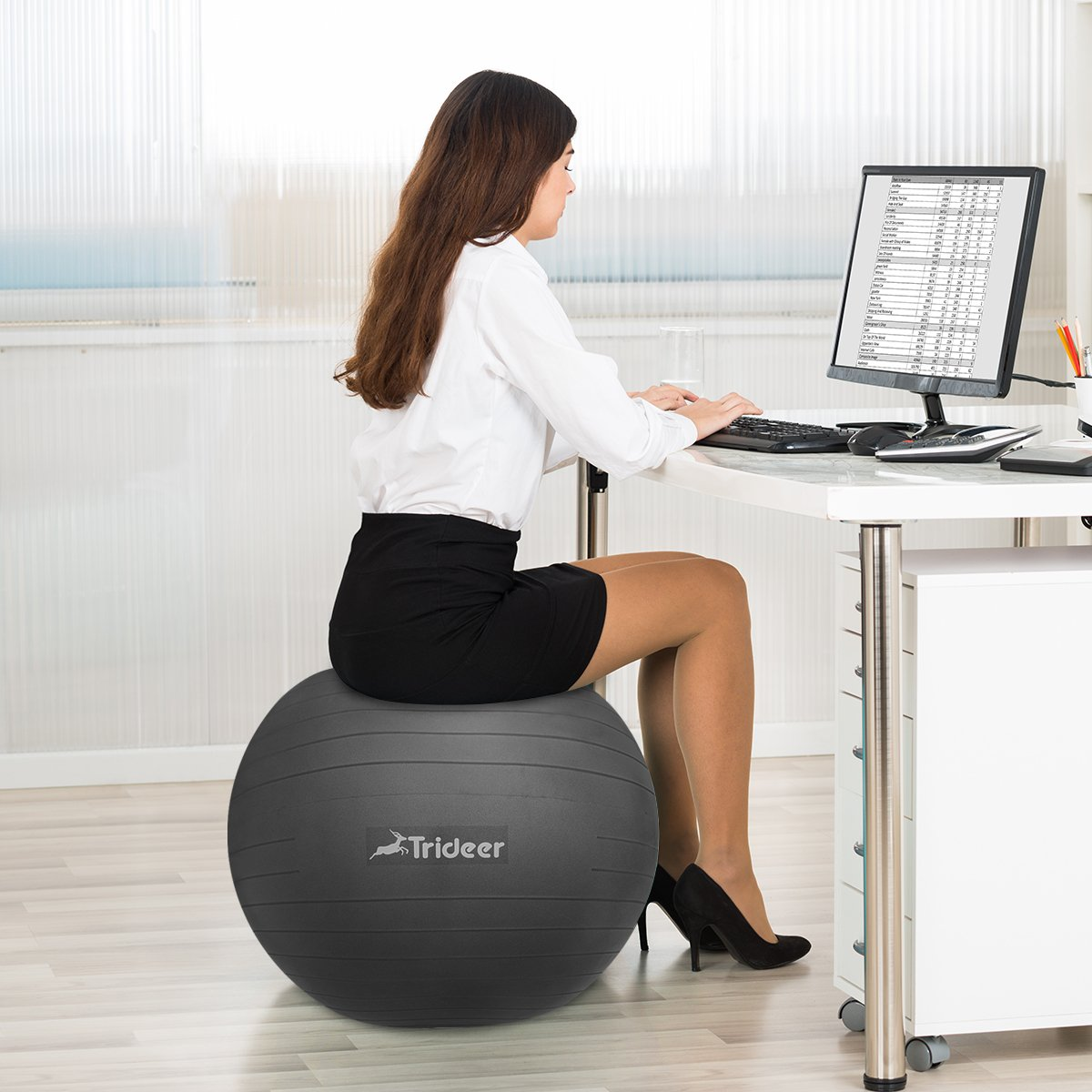 Trideer Exercise Ball (45-85cm) Yoga Ball Chair, Anti-Burst & Extra Thick, Birthing Ball with Quick Pump, Supports 2200lbs, Stability Ball (Office and Home) by Trideer (Image #8)