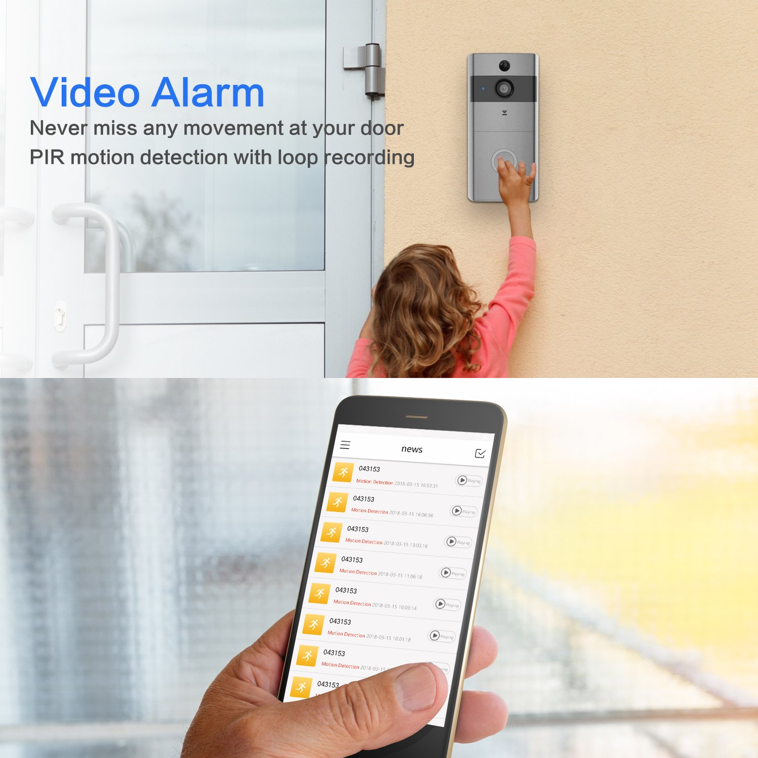 Video Doorbell, Safevant Wi-Fi Doorbell Camera 720P HD Home Security Camera with Two-Way Talk & Video,Infrared Night Vision,PIR Motion Detection Wireless Doorbell for iOS and Android Smart Phone by SAFEVANT (Image #5)
