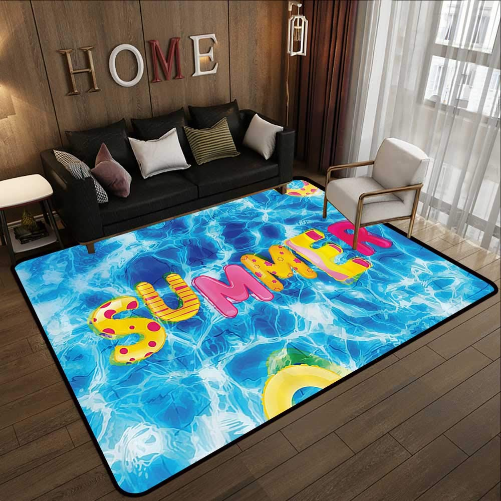 "Throw Rugs,Ocean,Summer Ballon Like Lettering in a Pool with Differen Prints Summer Hot Vibes Image,Multicolor 47""x 59"" Office Chair Floor Mat Foot Pad"