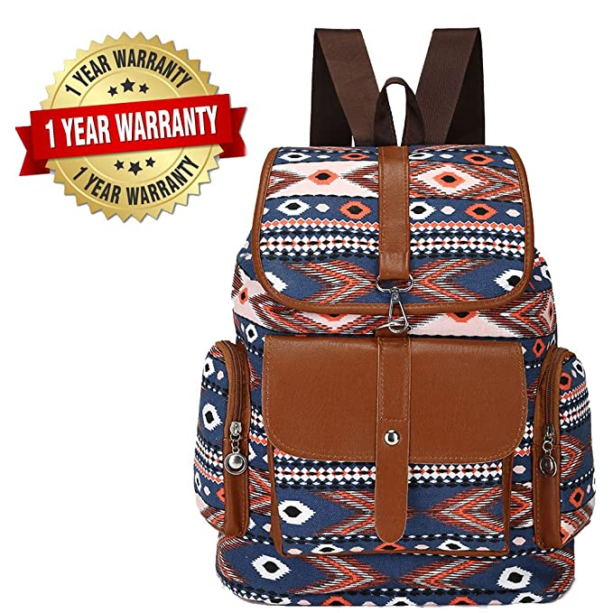 6e99efde29 Women Canvas Backpack Drawstring Knapsack Girls Casual Book Bag Bohemian  Style Rucksack Outdoor Sports Daypack(