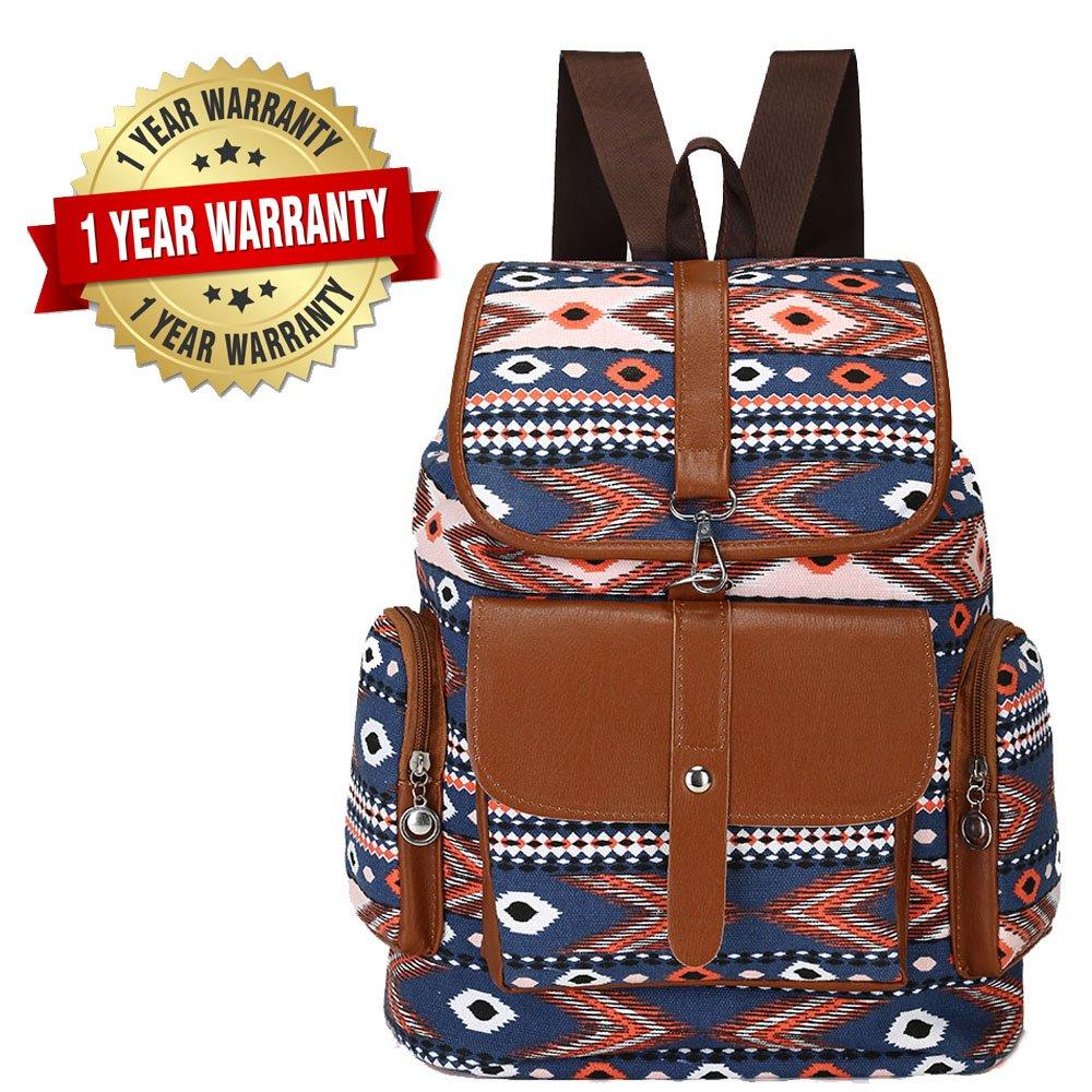Women Canvas Backpack Drawstring Knapsack Girls Casual Book Bag Bohemian Style Rucksack Outdoor Sports Daypack(Blue)