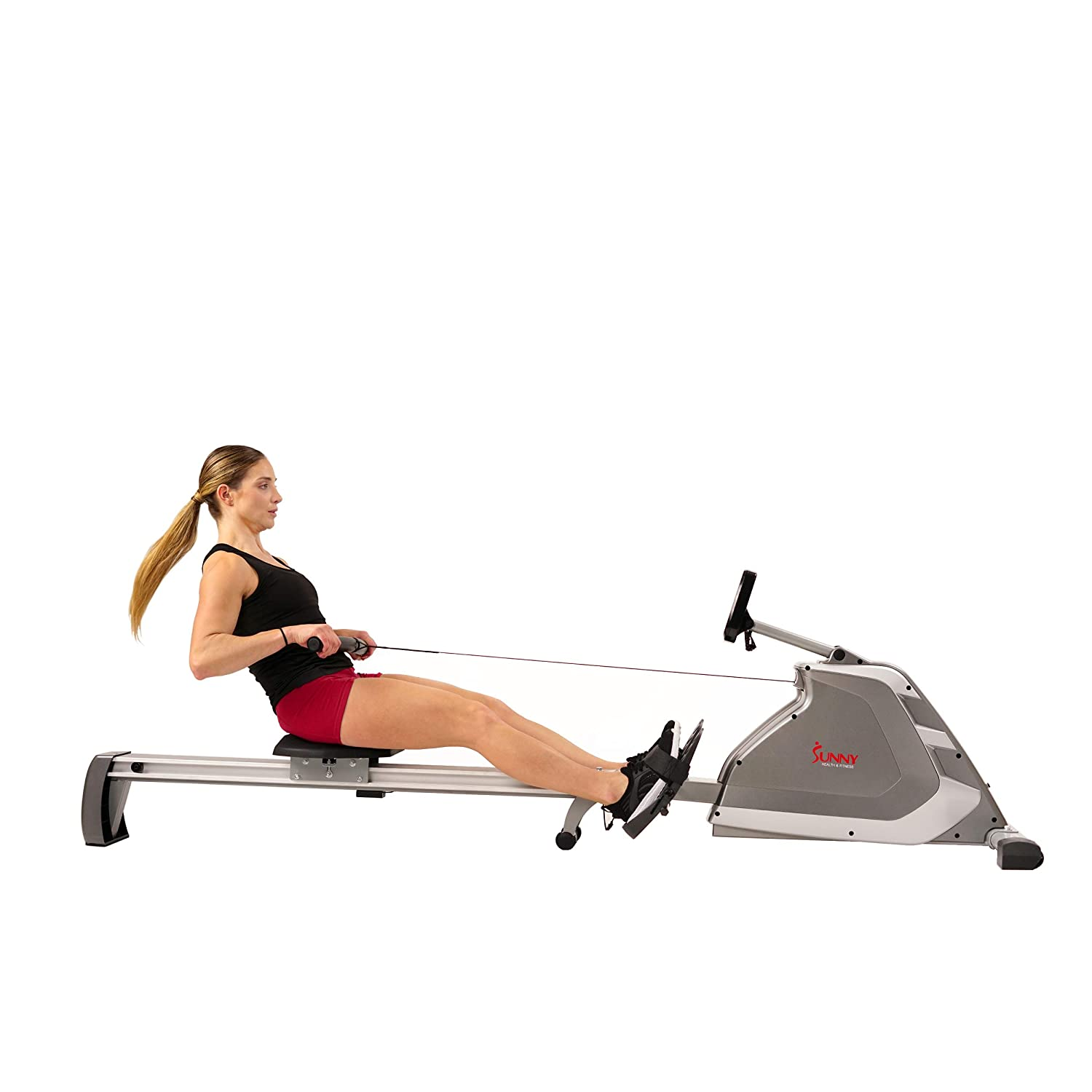 Sunny Health Fitness Magnetic Rowing Machine Rower with Dual Resistance, Programmable Monitor, 300 LB Max Weight and Foldable Quiet Aluminum Slide Rail – SF-RW5854