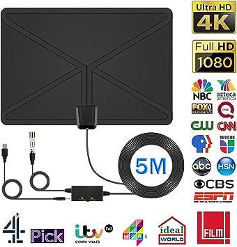2019 Potencia] Antena de TV, DIZA100, Antena Interior de 100-120 km de Alcance con Amplificador y Cable coaxial de 5 Metros para Antena de televisión Compatible con DVB-T/DVB-T2/DAB+: Amazon.es: Electrónica