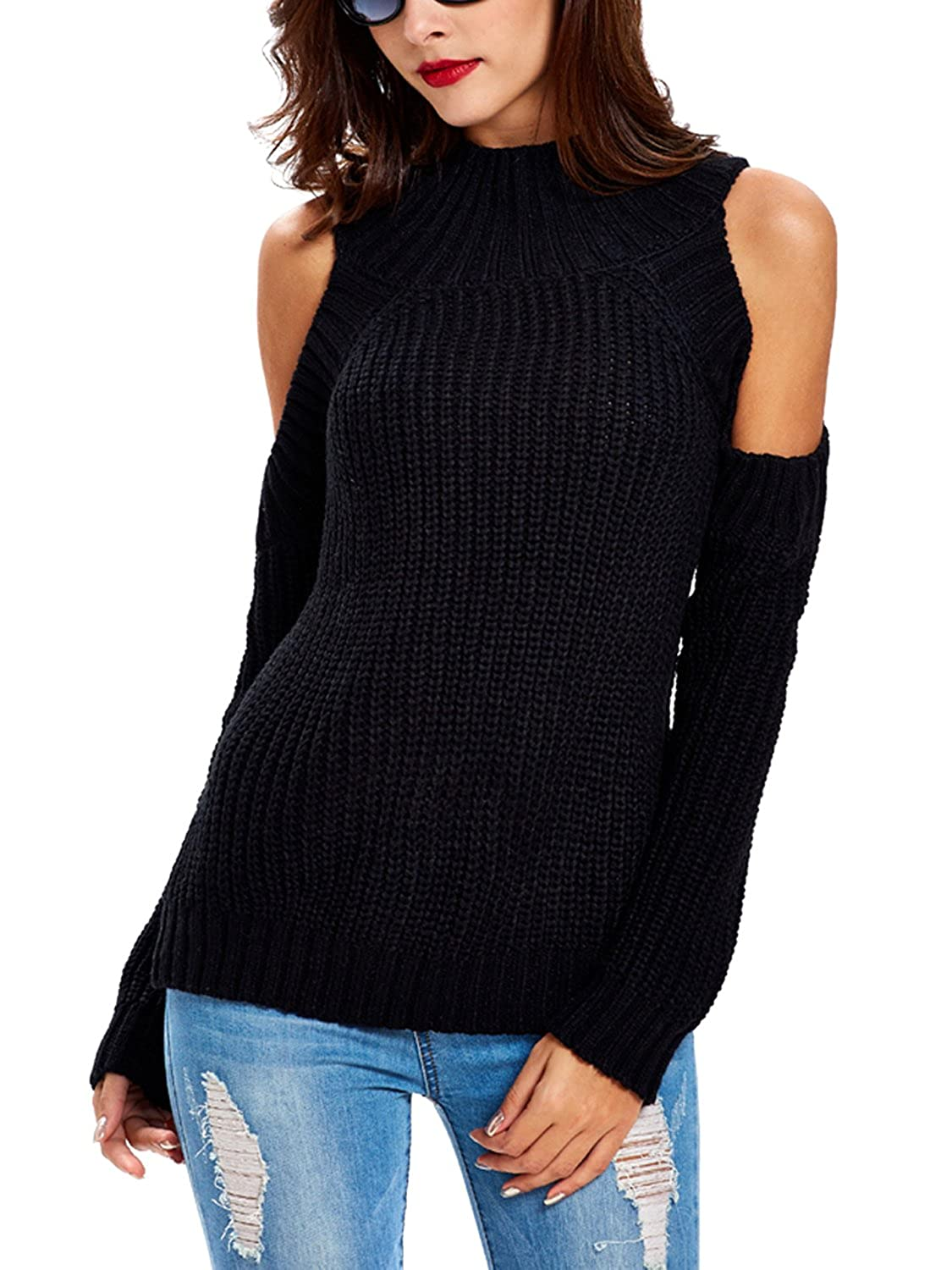 Soteer Women's Cut Out Long Sleeve Cold Shoulder Warm Wool ...