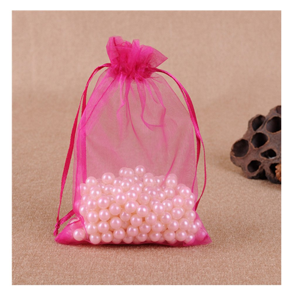 MELUOGE 100pcs 6X9 Inches Organza Drawstring Jewelry Pouches Bags ...