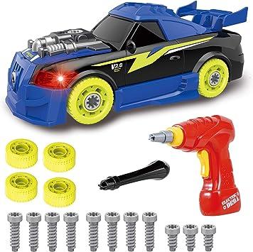 Kit de construction de voitures de course avec lumières et sons