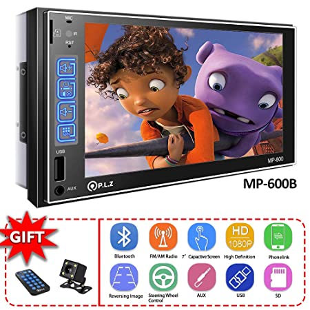 Double Din Car Stereo in-Dash Car Stereo Receiver with Bluetooth, MP5 Player FM Am TF USB Aux-in, Remote and Backup Camera Included with Backup Camera Phonelink for Android iOS