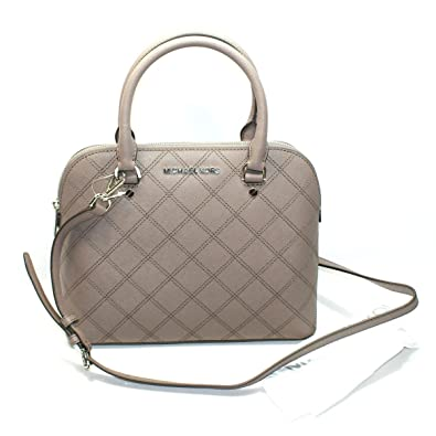 28392d30cfce0c ... top quality michael kors cindy medium dome leather satchel crossbody bag  cinder brownish grey 6f3cc 0486e
