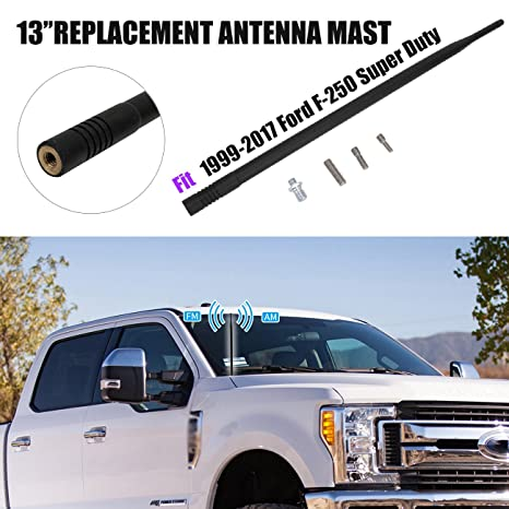 "Negro 13 ""de goma antena/mástil de Antena Corto Custom para Ford F"