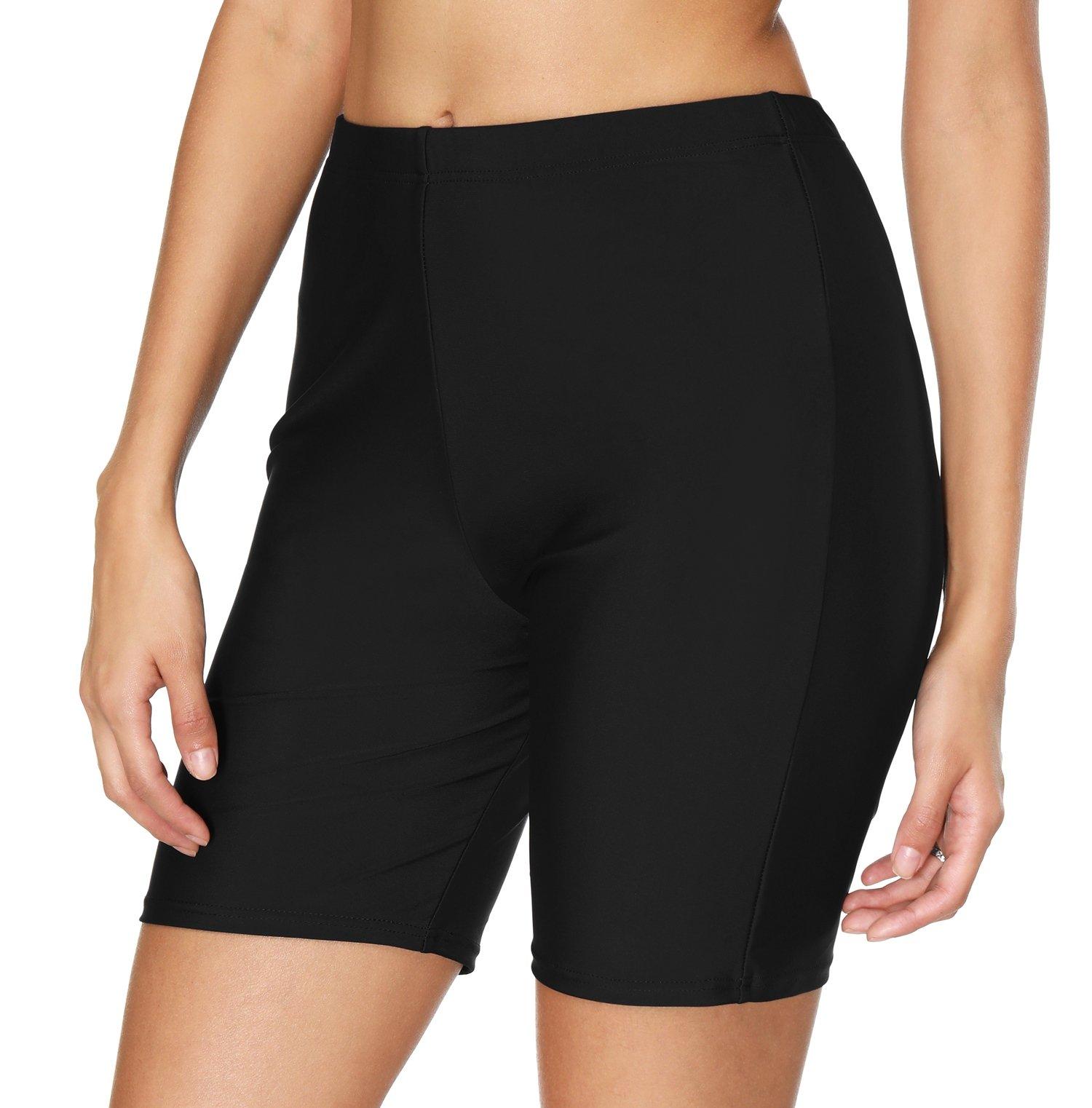 ATTRACO Women Swimwear Shorts Solid Tankini Shorts Tummy Control Black Medium