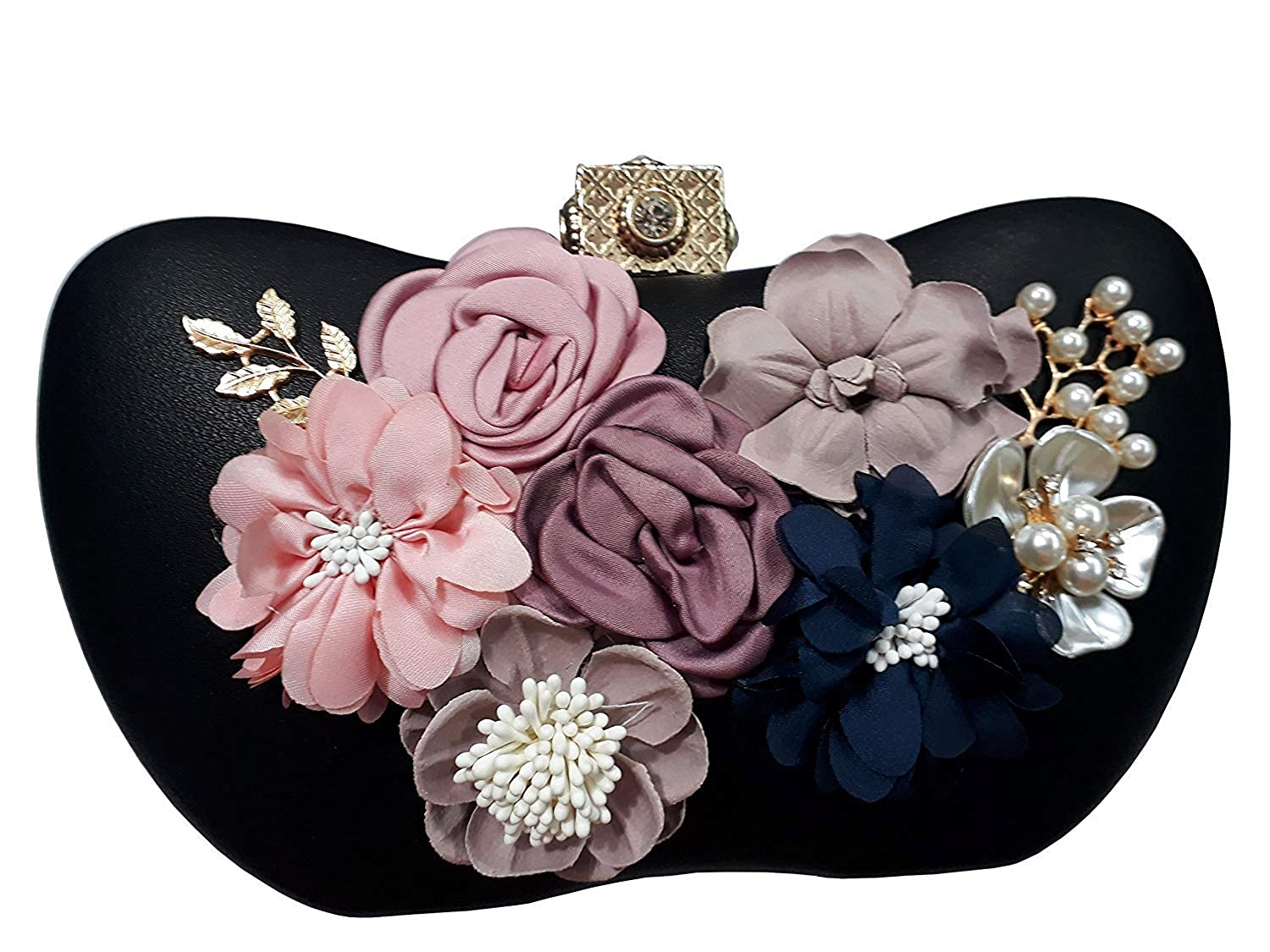 Designer Floral Emblished Party Wedding Box Clutch with Sling For Women Girls