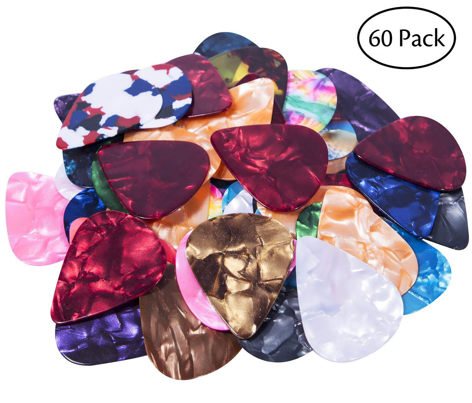Gogogu 60 Pack Colorful Celluloid Guitar Picks Plectrums for Guitar Bass Includes 0.46mm, 0.71mm, 0.96mm 4334252971