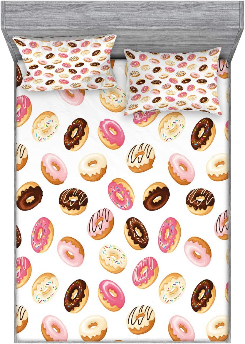 Ambesonne Food Fitted Sheet & Pillow Sham Set, American Traditional Classic Breakfast Fast Food Dessert Tasty Donuts Art Print, Decorative Printed 3 Piece Bedding Decor Set, Queen, Coral Cream