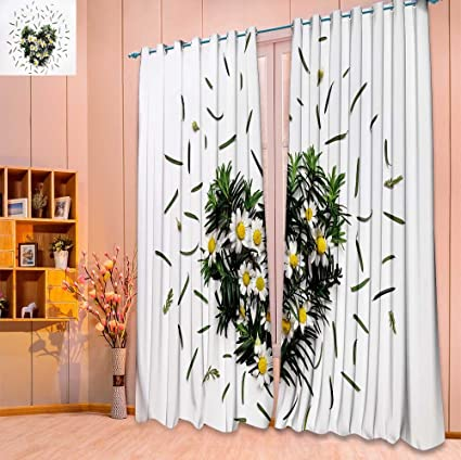 dining room window curtains sheer septsonne panel set digital printed window curtains floral heart made of chamomile flowers and fir amazoncom