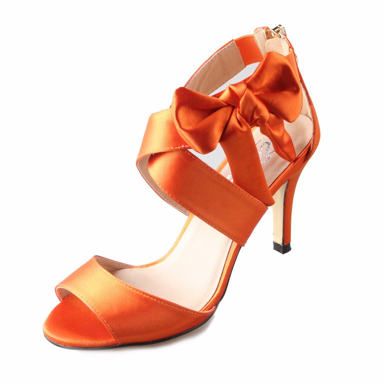 Creativesugar Women's Orange Bow Sandals Satin Dress Shoes Wedding Heels (9)