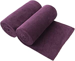 "JML Bath Towels, Microfiber Towels (2 Pack, 30""x 60"") - Super Absorbent, Quick Drying, Shed and Fade Resistant Fitness Towel, Purple"