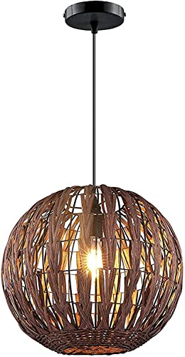 Modern Bamboo Chandelier Hallway Wicker Rattan Ceiling Light Fixtures Lamp Shades Weave Hanging Light