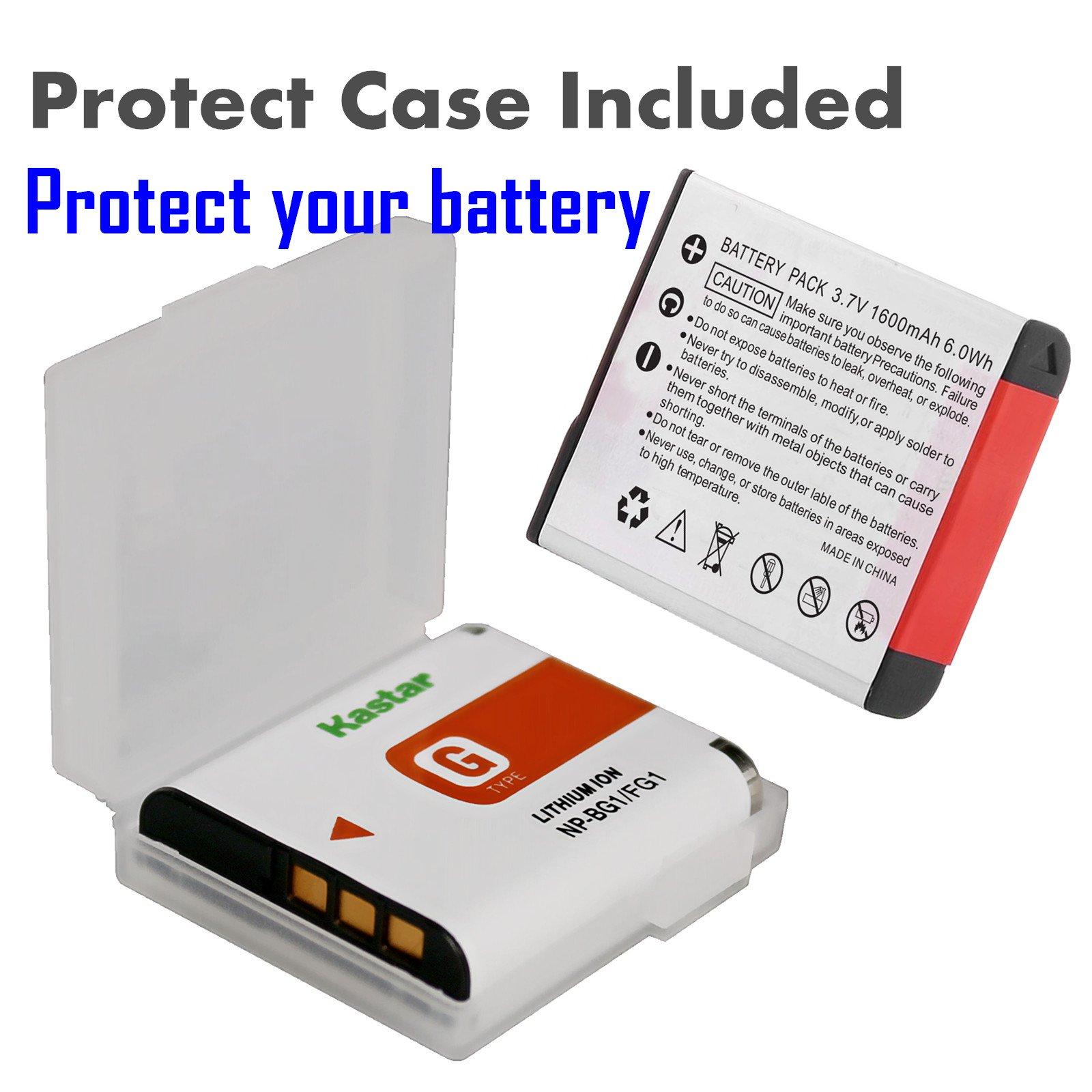 Kastar Battery (X2) & LCD Slim USB Charger for Sony NP-BG1 NPBG1 NP-FG1 NPFG1 and Cyber-shot DSC-W120 W150 W220 DSC-H3 H7 H9 H10 H20 H50 H55 H70 DSC-HX5V DSC-HX7V DSC-HX9V DSC-HX10V DSC-HX30V by Kastar (Image #6)