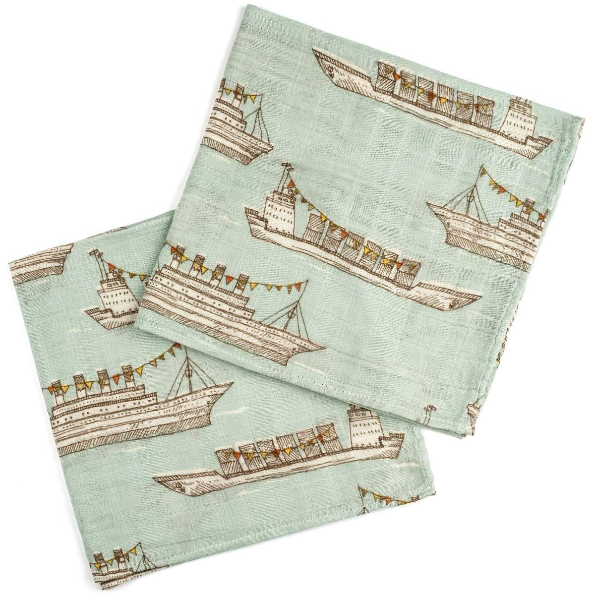 MilkBarn Bamboo Cotton Burp Cloths Blue Ships - Set of 2