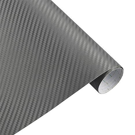 Grey Matte 3D Carbon Fiber Vinyl Film Sticker Car Wrap Motorcycle