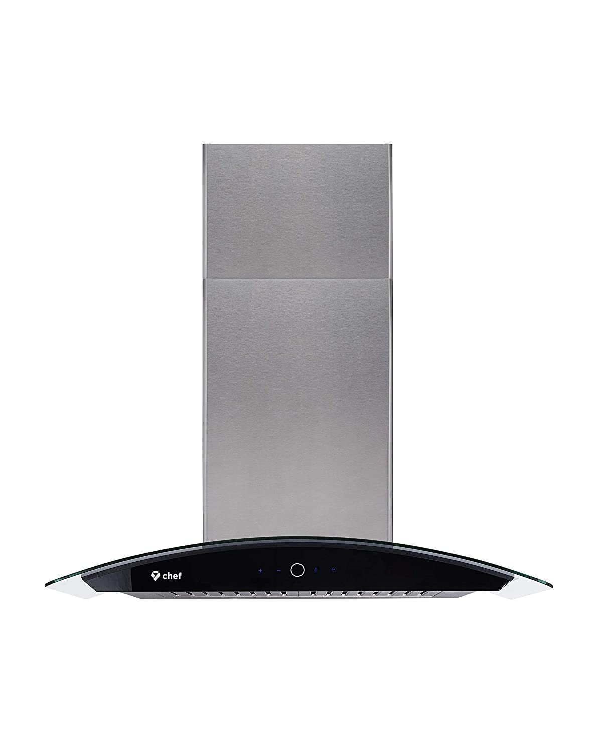 Dishwasher Safe Baffle Filters Touch Control Panel 3 Speed Settings Contemporary Design w// 900 CFM 36 Chef WM-639 Wall Mounted Range Hood Tempered Glass and Stainless Steel