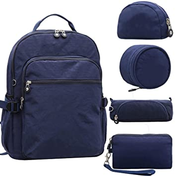 Amazon.com: 5pcs/set Casual Original School Backpack for Teenage Kiple Mochila Escolar Travel Bag Backpack for Laptop With Monkey Keychain,5PCS Blue: ...